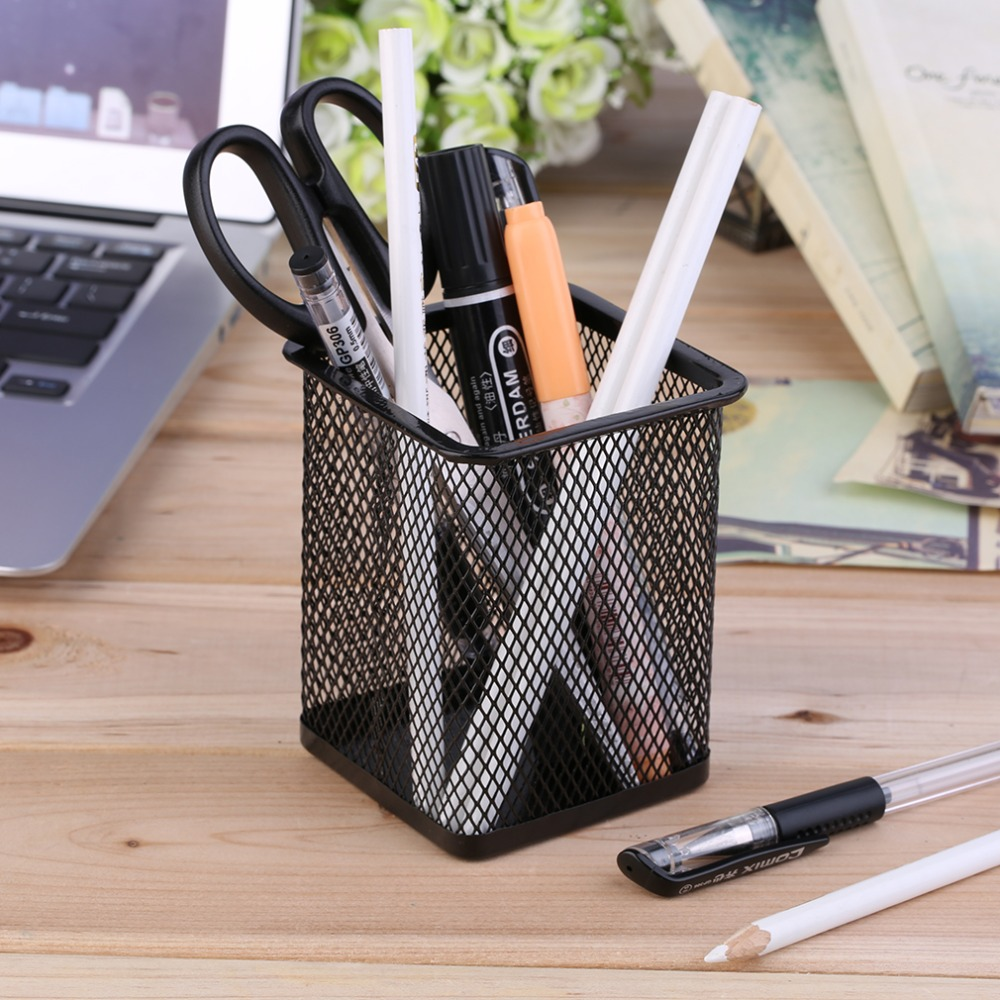 Black Paint Spraying Outside Anti-Rust Light Weight Office Desk Metal Mesh Square Pen Pot Cup Case Container Organiser Holder