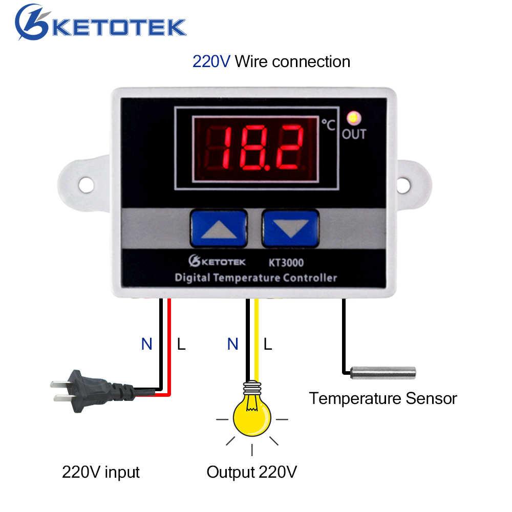 ketotek kt3000 digital temperature controller thermostat led ac 110v 220v 12v 24v microcomputer switch thermal regulator [ 1000 x 1000 Pixel ]