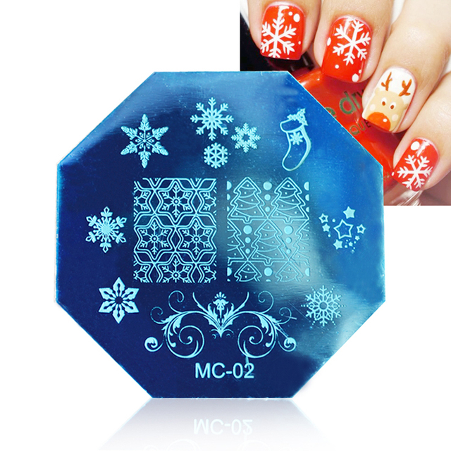 Star Anise Steel Christmas Stencil Printing For Nail Art Stamping