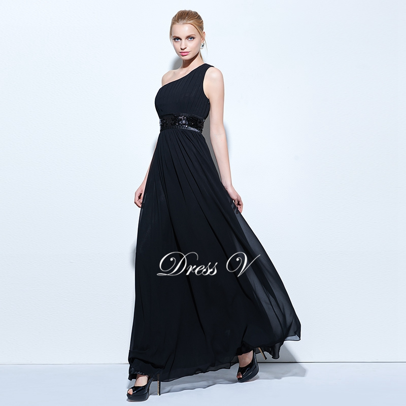 b2e1354b31e336 Dressv zwart one schouder avondjurk A lijn gedrapeerde pailletten chiffon  lange avondjurk elegante formele party jurk prom in Dressv zwart  one-schouder ...