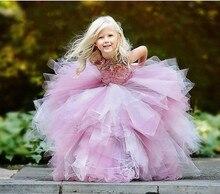 2017 Новый Розовый Bling Bling Платье Девушки Цветка с Данью шелк Бисером Бальное платье для Свадьбы Real photo Первое Причастие платье