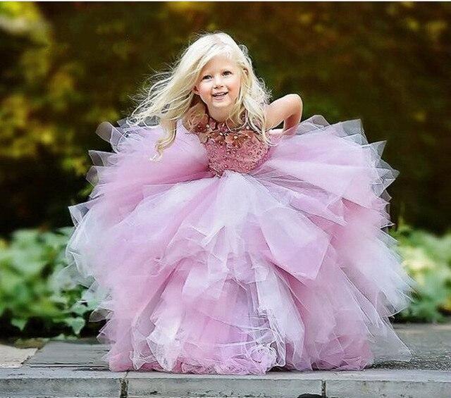 Новинка 2017 года Розовый Bling платье с цветочным узором для девочек с шелковое Бисер бальное платье для свадеб реальные фото первого причастия