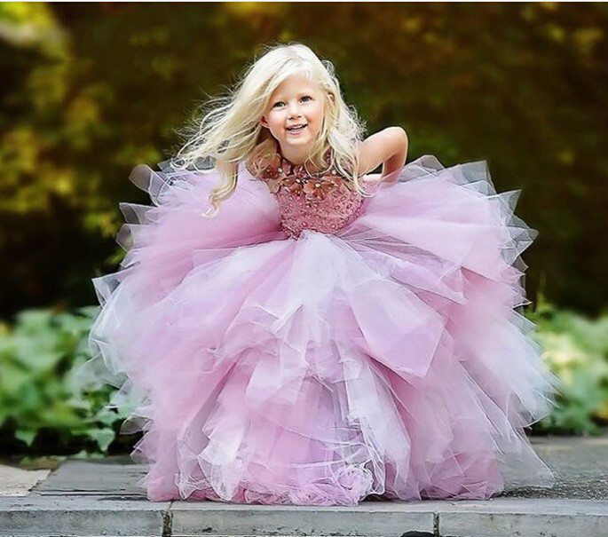 2017 New Pink Bling Bling Flower Girl Dress with Tribute Silk Beading Ball Gown for Weddings Real photo First Communion Gown 4pcs new for ball uff bes m18mg noc80b s04g