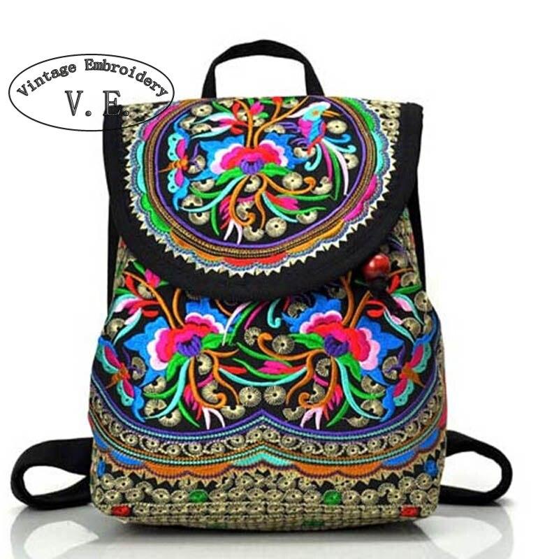 Bolso de hombro con cordón étnico bordado Vintage para mujer Mochilas pequeñas niñas adolescentes Mochilas Escolares femeninas