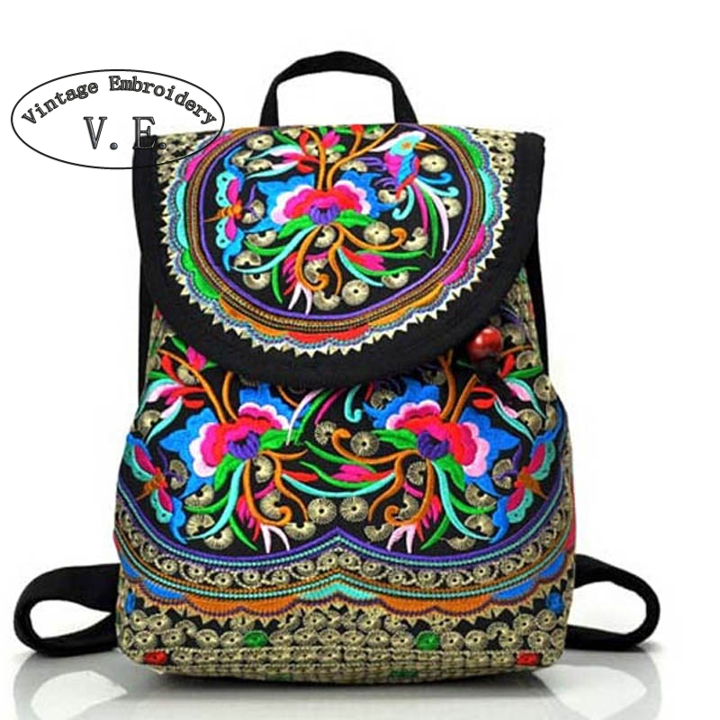 Vintage Embroidery Womens Ethnic Canvas Drawstring Shoulder Bag Small Backpacks Teenage Girls Mochilas Escolares Femininas