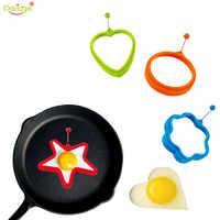 Delidge 4 unids/set molde de huevo de silicona flor corazón redondo estrella panqueque huevos molde desayuno esencial huevo frito anillo molde
