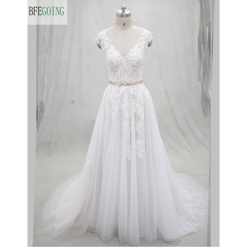 Ivory  Lace  Applique  Tulle  Floor-Length V-Neck  A-line Wedding Dresses Court Train Button Cap Sleeves  Custom Made