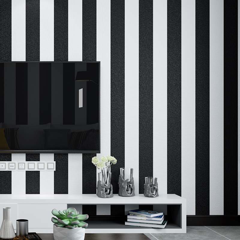 Modern Black White Horizontal Vertical Stripes Wallpaper For Walls