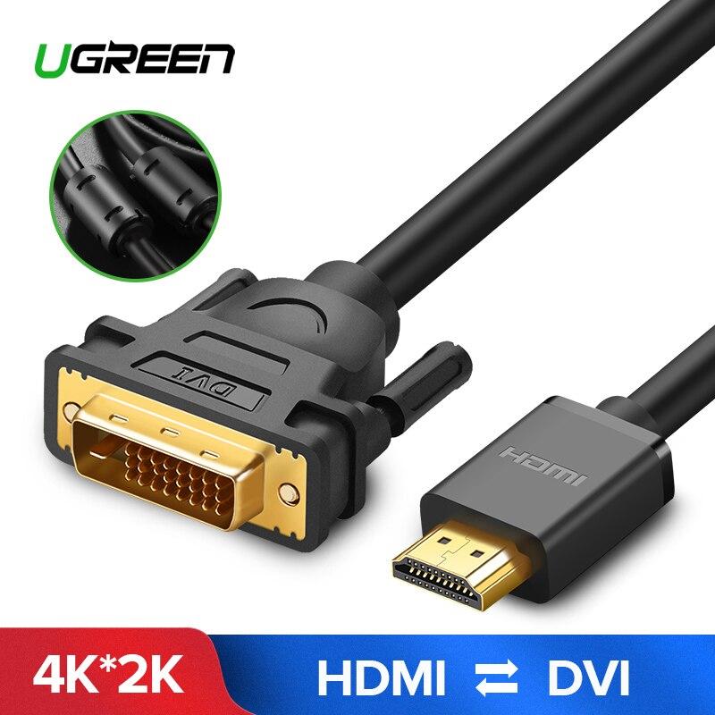 Ugreen HDMI zu DVI zu HDMI DVI-D 24 + 1 pin Adapter 4 K Bi-directional DVI D Männlichen auf HDMI Stecker Konverter Kabel für LCD DVD HDTV 5 m