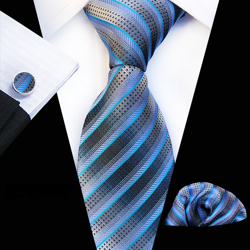 71 Styles Men`s Tie For Men Necktie Paisley Silk Tie Hanky Cufflinks Set Men's Tie For Wedding Party Business Lake Blue