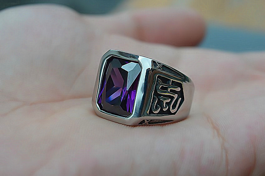 Titanium Steel with Purple Gem Ring Titanium Steel Single Men's Ring King Personality Korean Ring Jewelry
