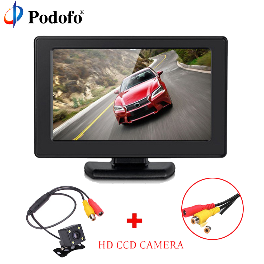 Podofo 4.3 Color TFT LCD 800*480 High Resolution 2-Channel Video Input Display Monitor Screen For DVD VCD Security Monitor ...