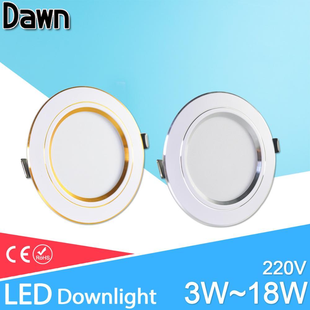 Led Downlight 3W 5W 9W 12W 15W 18W Downlight AC 220V 240V Ultra Thin Gold Silver Aluminum Round Recessed LED Spot Lighting