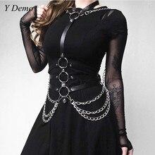 Gotik Pu katmanlı çevreler zincir bel kemeri Halter boyun elbise kemeri