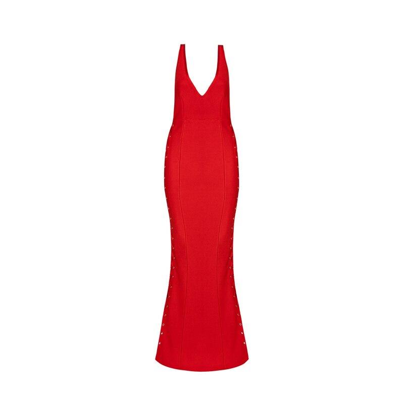 Col V Long Manches Noir En Soirée Dress 2017 Moulante Party Chaude rouge De Luxe Nouvelle Sans Noir Bandage Summer Sexy Femmes Vestidos Vente Rouge AL3jR5q4