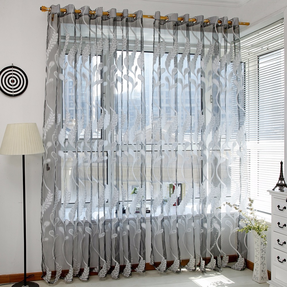 Modern curtain patterns - Simple Style Cut Flowers And Ears Patterns Curtain Modern Voile Tulle Room Window Curtain China