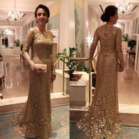 Vestido de Festa Elegant Long Sleeve Evening Dress Mother Of The Bride Lace Dresses with Sweep Train for Wedding Party