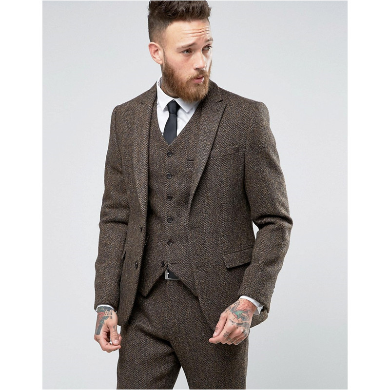 Custom Made Tweed Suits Men Formal Skinny Wedding Tuxedo Gentle Modern Blazer 3 Piece Men Suits (Jacket+Pants+Vest) K368