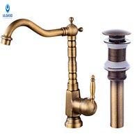 ULGKSD Antique Brass Kitchen Sink Faucet Set Pop Up Drain Kitchen Faucet 360 Rotation Deck Mount