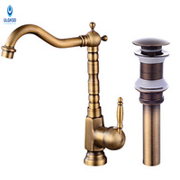 ULGKSD Antique Brass Kitchen Sink Faucet Set Pop Up Drain Kitchen Faucet 360 Rotation Deck Mount