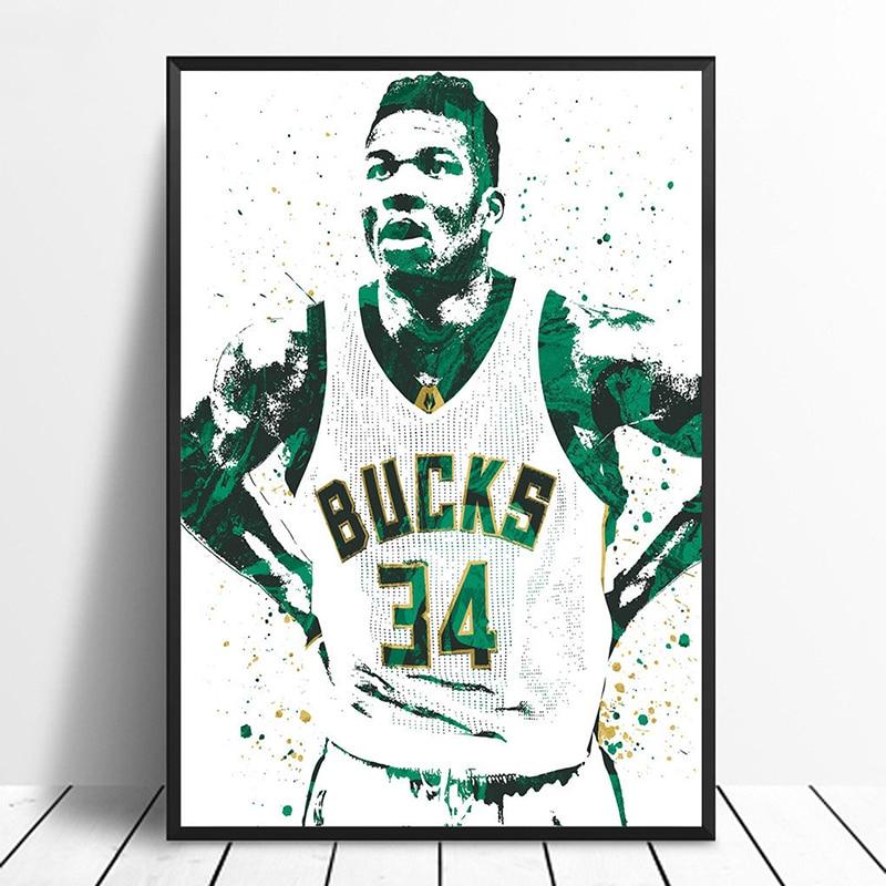 Basketball Sports Canvas Wall Art For Boys Bedroom Decor: Giannis Antetokounmpo Basketball Star Sports Canvas Poster