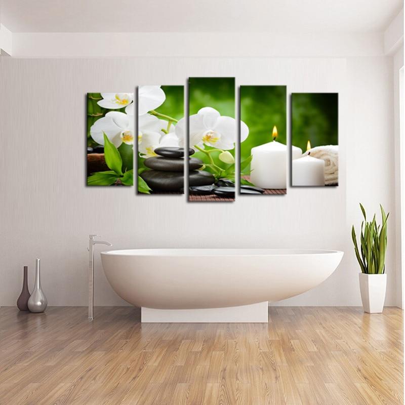 Okvir 5 ploča slika uljem platna bijeli svijeća cvjetni modularni - Kućni dekor - Foto 3