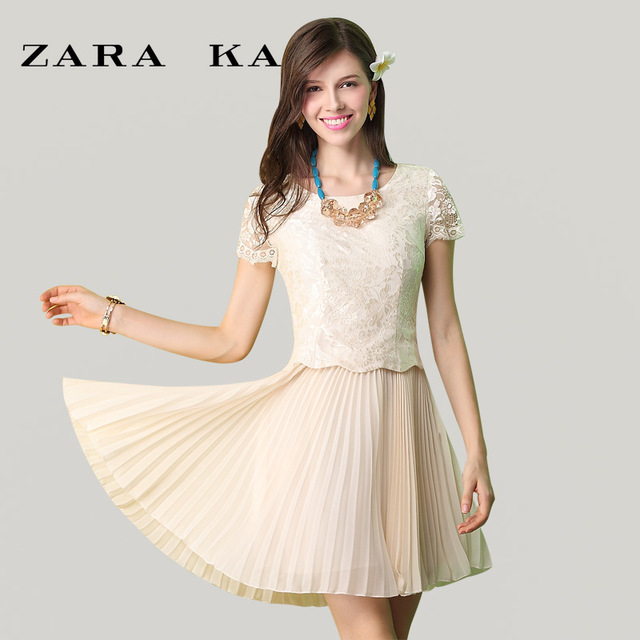 898bda67 ZARA KA -end women's pleated chiffon dress lace dress 2013 new Autumn  Korean version of Slim