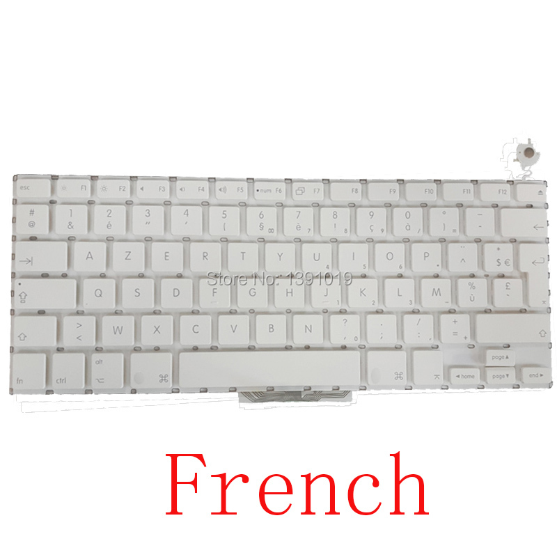 10pcs/lot Genuine Original France A1181 13.3″ For Apple Macbook Air Laptop Parts French Keyboards White Black Replacement Tested