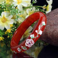 12-15mm Wide Chinese Natural Red Agate jade Bangle Hand Carved Shell flowers Inlaid Bracelet Fine Jade Bangles for woman 58-62MM