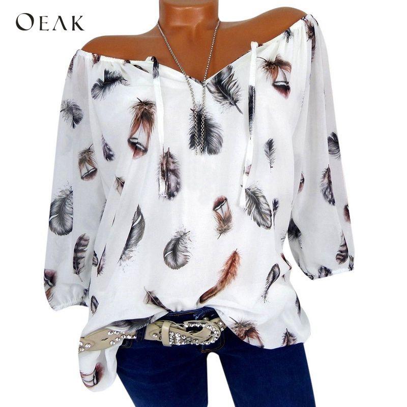 OEAK 2019 Spring Summer Half Sleeve V-Neck Boho Women   Blouse     Shirt   Feather Print Casual Girl Loose Elegant   Blouses   Tops Clothing