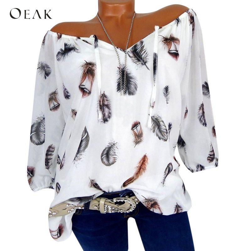 OEAK 2019 Spring Summer Half Sleeve V-Neck Boho Women Blouse Shirt Feather Print Casual Girl Loose Elegant Blouses Tops Clothing