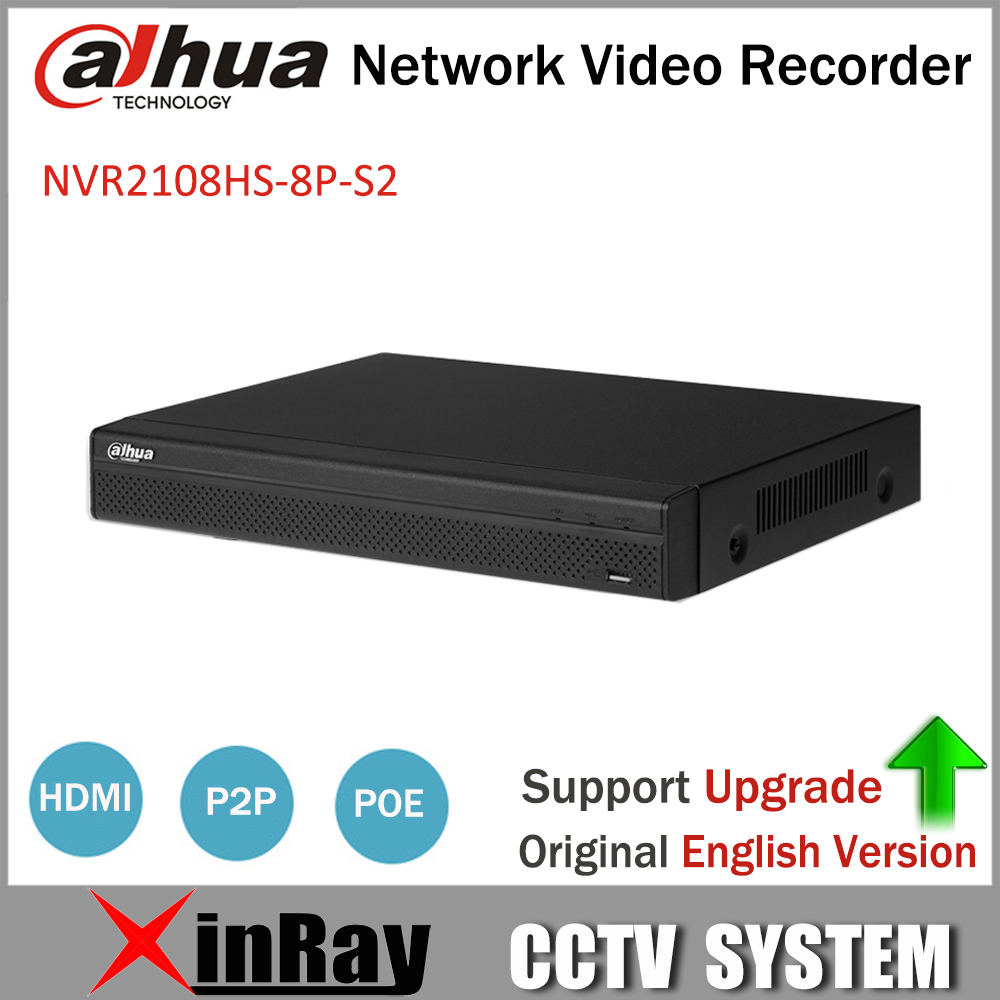 Dahua POE NVR NVR2108HS-8P-S2 8CH Network Video Recorder Full HD 1080P Recorder With 1SATA  2USB Interface 16ch smart nvr 1ch face detection or 2ch perimeter alarm with 8ch poe 1000m ethernet port and 1 sata interface