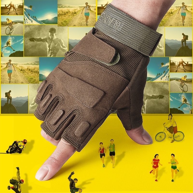 ФОТО Semi finger gloves to drive non slip outdoor sports thin section