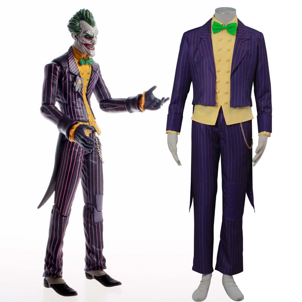 Batman Arkham City Joker Costume Batman Anti Hero Costumes Adult Men's The Joker  Cosplay Costume Deluxe Striped Tailcoat Outfit-in Holidays Costumes from ...