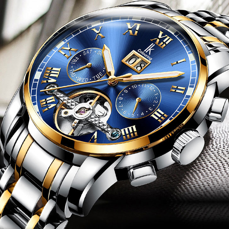 2018 Business Automatic Mechanical Tourbillon Watch Men IK COLOURING Flywheel Waterproof Wrist Watches montre homme automatique