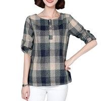 Plaid Shirt Women Cotton Linen Blouse 2017 Spring Long Sleeve Checked Shirts Korean Style Female Casual
