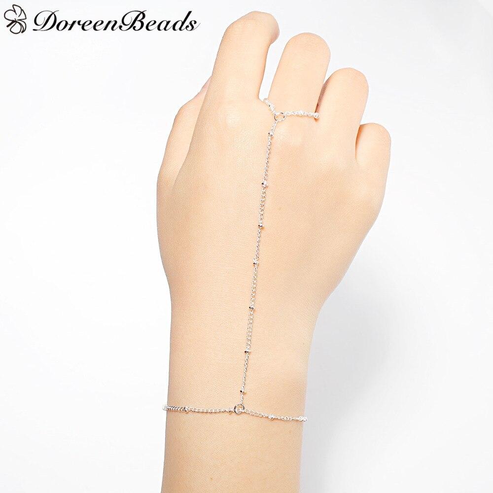 DoreenBeads ручной раб на цепи браслеты женские летние модные ювелирные изделия золотой цвет/серебряный цвет 18,3 см длинные 1 шт 2017 Новый тренд