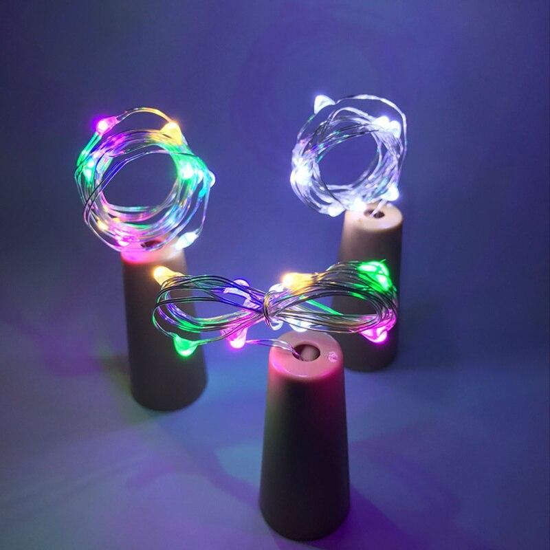 2M 20pcs LED Garland Copper Wire Corker String Fairy Lights For Glass Craft Jar Bottle Christmas Valentines Wedding Decor