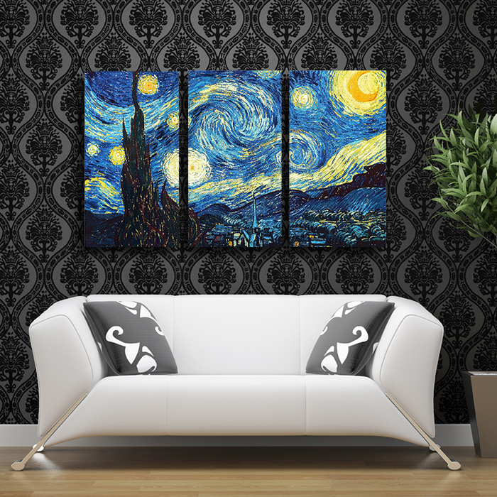 2017 Wall Painting Vincent Van Gogh 3 Pcs Starry Night Classic ...
