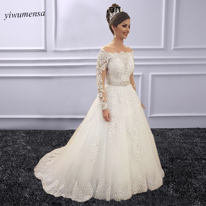 robe mariage wedding dress 2018 robe de mariee Long Sleeves Bridal Gown Brazil Style Two Pieces wedding dresses with Moved Train