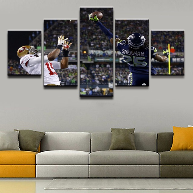 5 Pieces Sports Seattle Seahawks Modern Home Wall Decor Painting ...