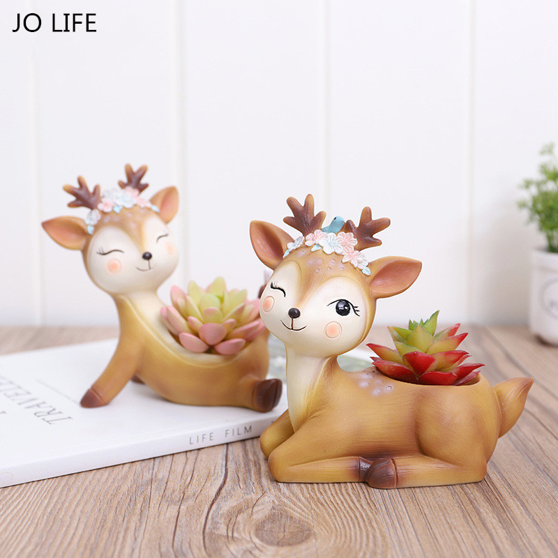 JO LIFE Cartoon Deer Flowerpot Succulent Plant Pot Home Wedding Decoration Animal Plants Resin Vase Ornament
