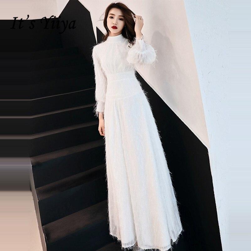 It's YiiYa Evening Dress 2019 Small Tassel White Lantern Sleeve Evening Gowns A-line Zipper Party Dresses LX1409 Robe De Soiree