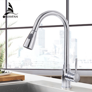 Image 4 - Kitchen Faucets Silver Single Handle Pull Out Kitchen Tap Single Hole Handle Swivel 360 Degree Water Mixer Tap Mixer Tap 408906