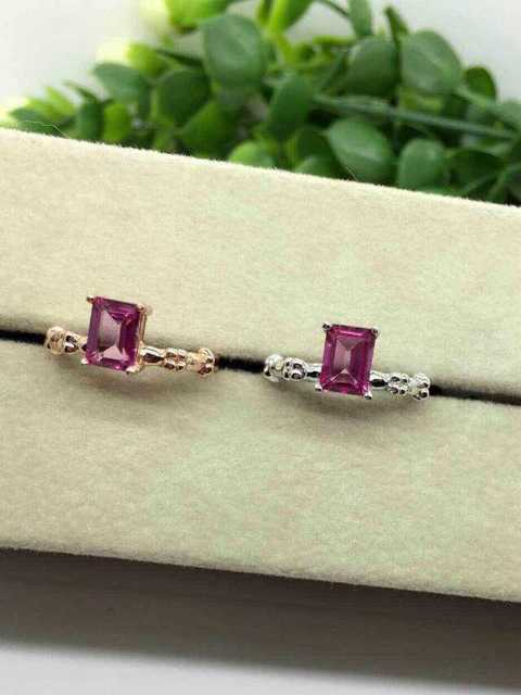 Natural pink topaz Ring Natural gemstone Ring 925 sterling silver trendy Elegant simple square women's party fine Jewelry