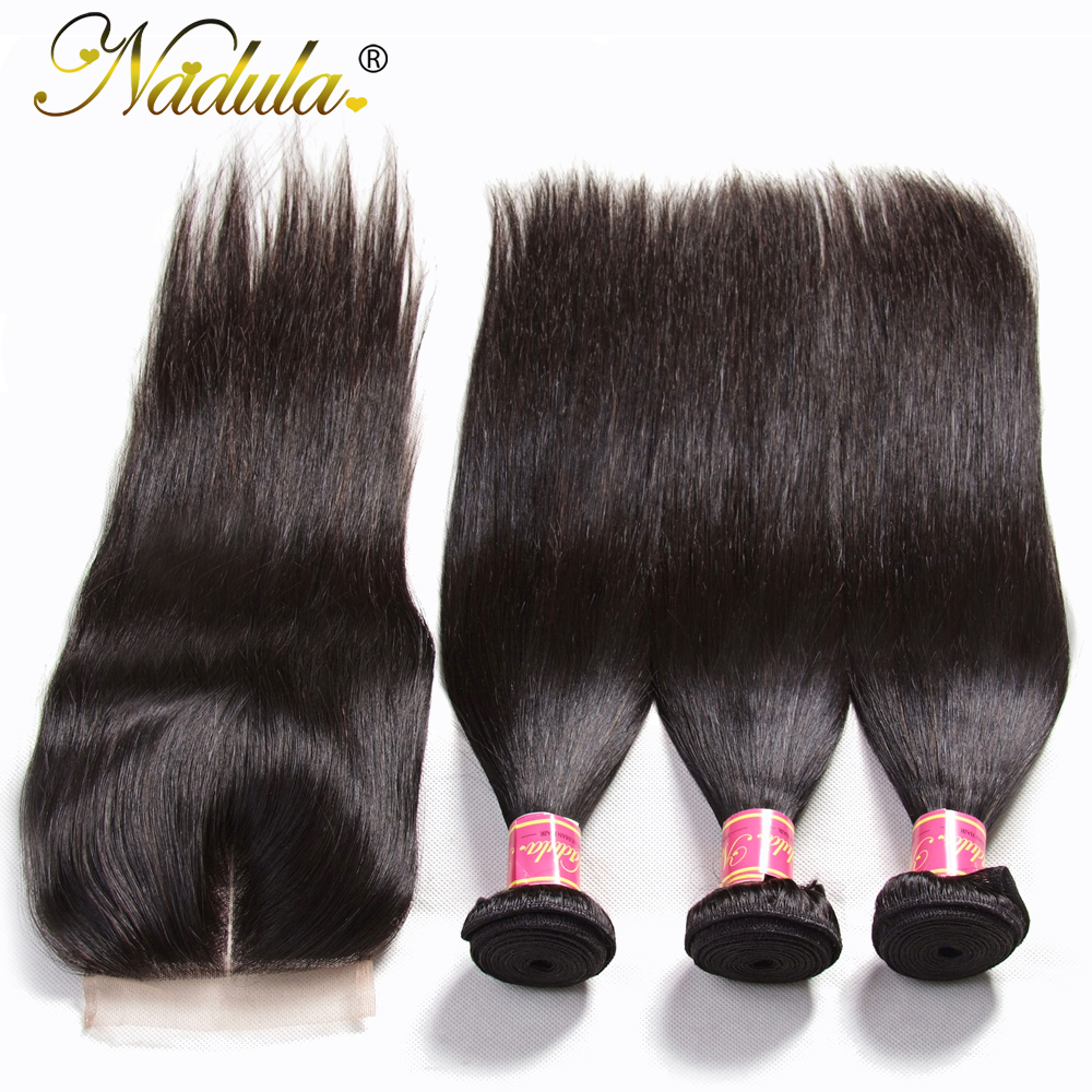 Image 4 - Nadula Hair Peruvian Straight Hair Bundles With Closure 3PCS Peruvian Hair Straight Remy Human Hair Bundles With Closure-in 3/4 Bundles with Closure from Hair Extensions & Wigs