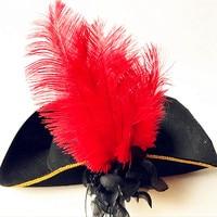 10色レザー海賊帽子メンズ海賊帽子羽カリブ海海賊帽子お祝いキャップ紳士帽
