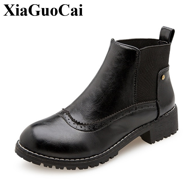 Autumn&winter New Fashion Chelsea Boots Shoes Women Boots Comfortable Round Toe Flat Shoes with Elastic Band Ankle Boots H516 35 front lace up casual ankle boots autumn vintage brown new booties flat genuine leather suede shoes round toe fall female fashion
