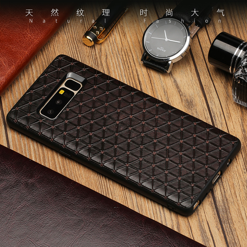 Triangle Texture Phone Case For Samsung Galaxy S8 S9 Plus Note 8 9 S7 edge A3 A5 A7 J3 J5 J7 2017 A8 2018 Cowhide Back Cover