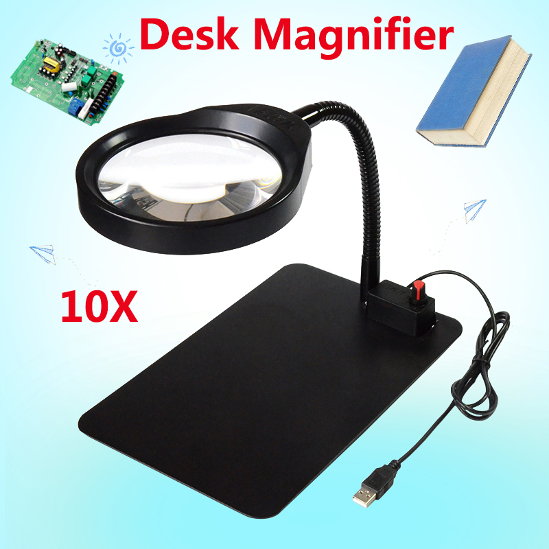 Desktop magnifier 10X dimmable LED light magnifying glass for reading jewelry appraisal repair & engraving new universal desktop magnifier usb with led light 10x for maintenance reading micro engraving magnifying glass